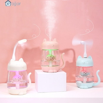 2019 3 In 1 Humidifier Cute Cat LED Humidifier Air Fan Diffuser Purifier Atomizer for Office Home 19MAR5