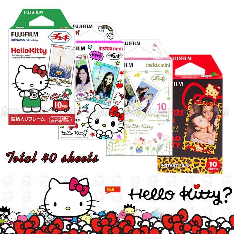 Genuine 40 pcs Fuji Fujifilm Instax Mini Film Hello Kitty For Mini 8 7s 7 50s 50i 90 25 dw Share SP-1 SP-2 Instant Photo Cameras genuine 60pcs fuji fujifilm instax mini 8 film white edge for 8 7 7s 50s 90 25 dw 50i share sp 1 instant cameras fast shipping