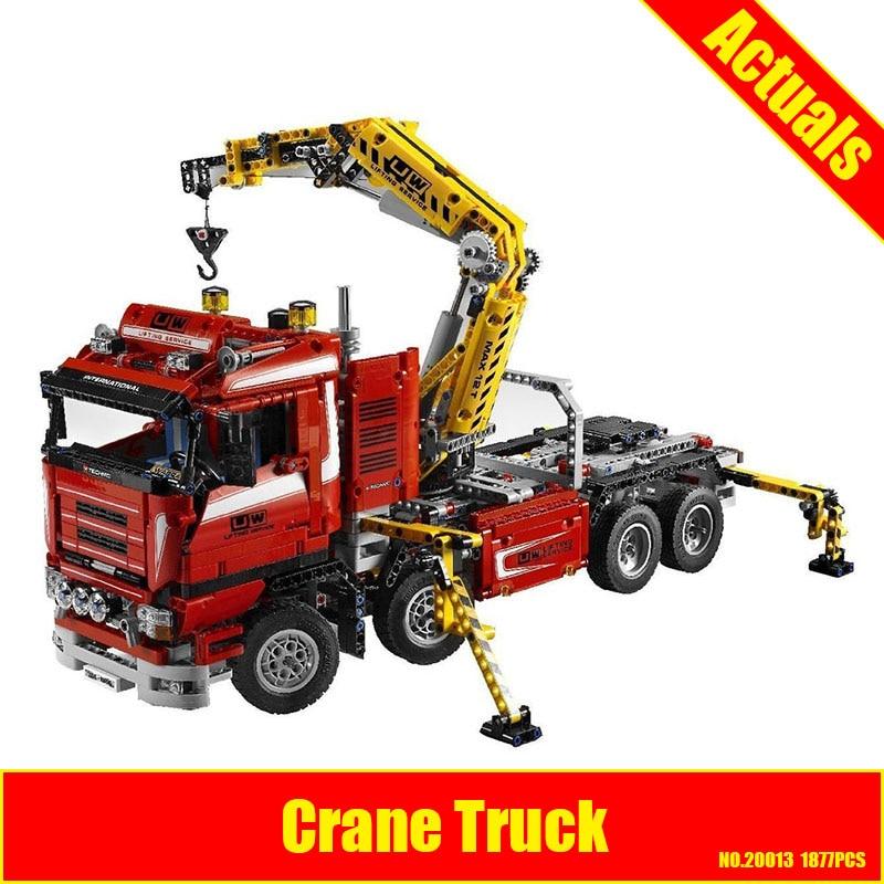 Lepin 20013 New 1877pcs Technic Ultimate Mechanical Series The Electric Crane Truck Set Building Blocks Bricks Toys assemble8258