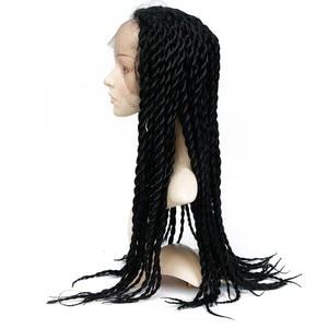 Image 5 - Feibin Spitze Front Afro Twist Geflochtene Perücken Für Schwarze Frauen Mambo Volle Kopf Perücke B33