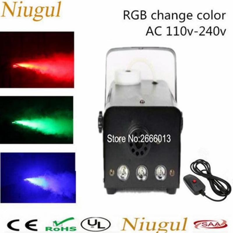 Niugul RGB Wire control LED 500W fog machine pump dj disco smoke machine for party weedding stage fogger machine DJ equipments dj control
