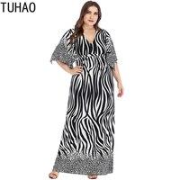 TUHAO Summer Dresses Plus Size Dress 6XL 5XL 4XL Striped Batwing Sleeve Vintage Bohemian Dress Loose Long Maxi Dress Women