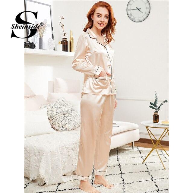 232dc5040e Sheinside Contrast Binding Satin Shirt   Pants Pj Set 2018 Spring Summer  Champagne Nightwear Women Long Sleeve Casual Pajama Set