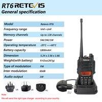 vhf uhf Waterproof 2pcs IP67 נגד אבק מכשיר קשר Retevis RT6 Dual Band 5/3 / 1W VHF / UHF שתי דרך רדיו FM השחורה RU ספינה (4)