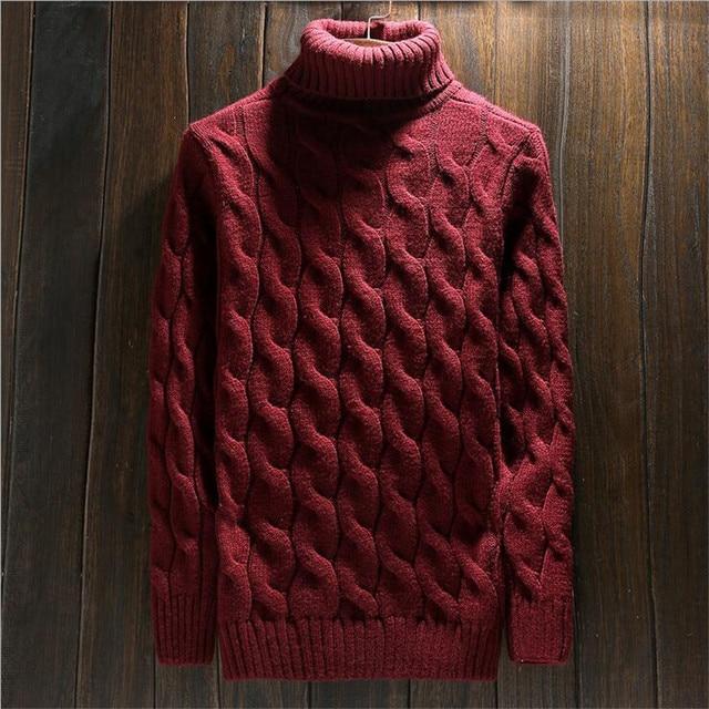 Водолазка Рождество Красные Свитера Мужчины Толстые Теплые Вязаные Пуловеры Homme Зима Новая Мода Грубая Шерстяная Цветок Вязать Свитер XXL