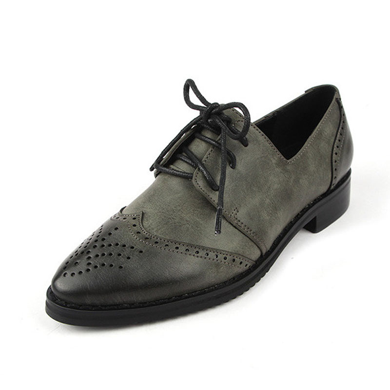 ФОТО Ladies Casual Flat Lace Up Oxford Shoes New Vintage Pu Leather Pointed Toe Women Brogue Oxfords Female Leisure Flats Size 34-41