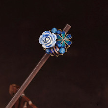 цена на Vintage Glazed Cloisonne Ethnic Hair Sticks Women Jewelry Hairpin Traditional Chinese Costume Accessories Wooden Head Ornaments