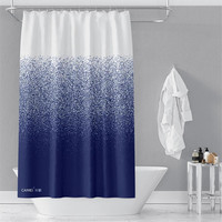 Blue Dots Shower Curtain Waterproof Mildew Polyester Thickened Toilet Partition Curtain Bathroom Curtain with Hooks Home Decor