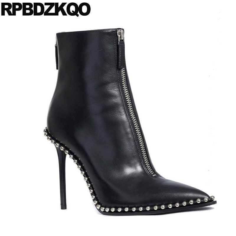 ... Metal High Heel Short Stud Autumn Fashion Black 2017 Booties Luxury  Brand Shoes Women Pointed Toe ... 01d7922832cc