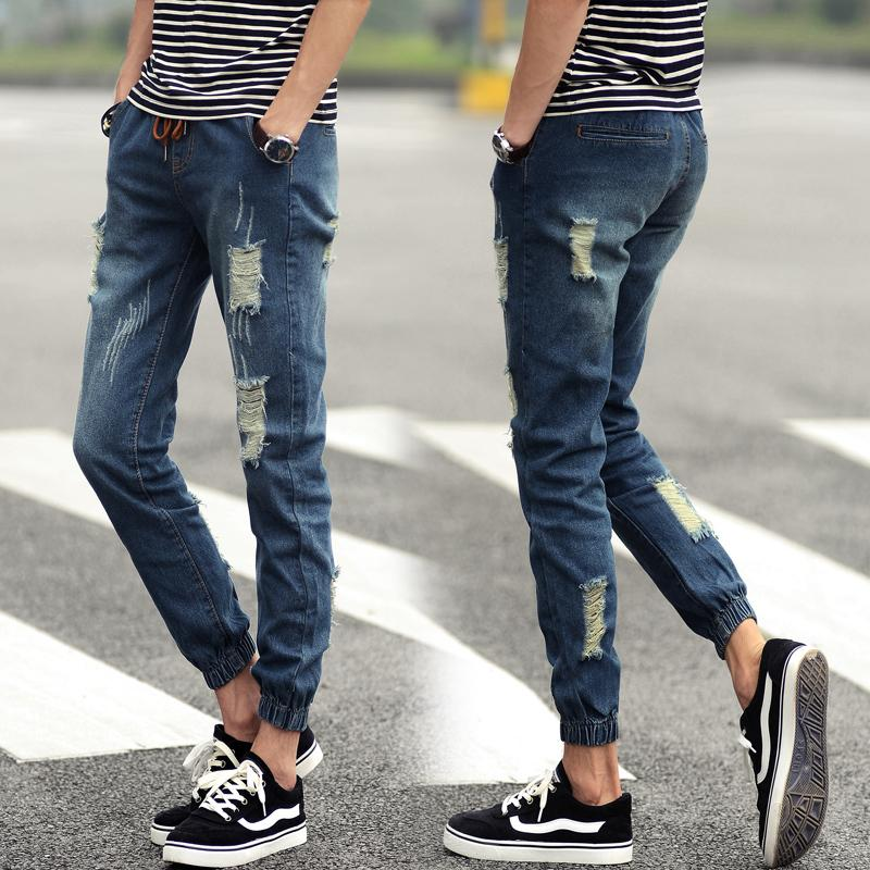 Summer Style Jeans Men Fashion New 2015 Solid Denim Joggers Quality Mid Waist Simple All Match