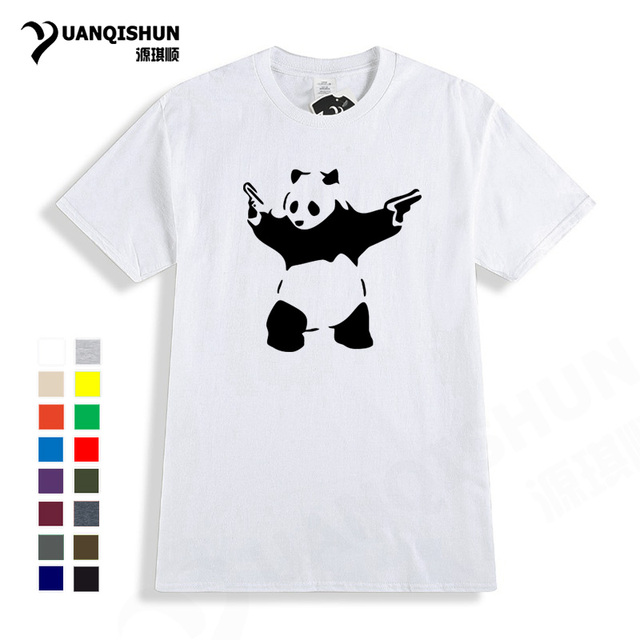 eae91525b0e 2018 New Summer Cartoon Design Banksy Panda Guns T Shirt Men Casual Cotton  Print Short Sleeve Funny Panda T-shirts Lovely Top