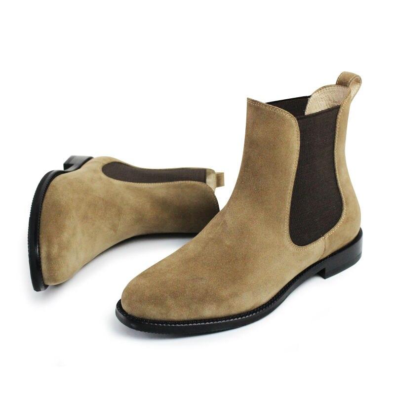 brown Genuino Grey Primavera Ocasionales Invierno Señoras Limitada Nueva Zapatos La 2019 Vikeduo Mujer Chelsea De Clásico Botas Moda Estilo Las HwOUgg