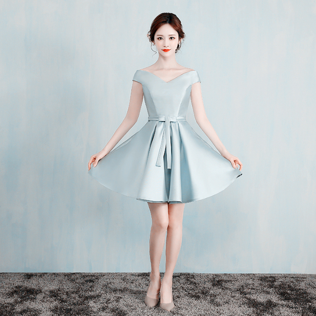 Satin Sweatheart Off Shoulder Korean Beautiful Evening Fashionable Dress Special Occasion Women Short 2017 New Arrival
