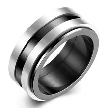 Punk Jewelry Titanium Stainless Steel & Black Gold Color Rings for Men Vintage Round Circle Rings R189