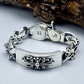 2016 Hot Sale Fashion Genuine 100% Real Pure 925 Sterling Silver bracelet gift for men Cross Bracelet men fine jewelry HB006