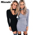 Missufe 2016 otoño sexy halter mujeres bodycon dress winter party mini punto profunda v ahueca hacia fuera el vendaje dress vestidos