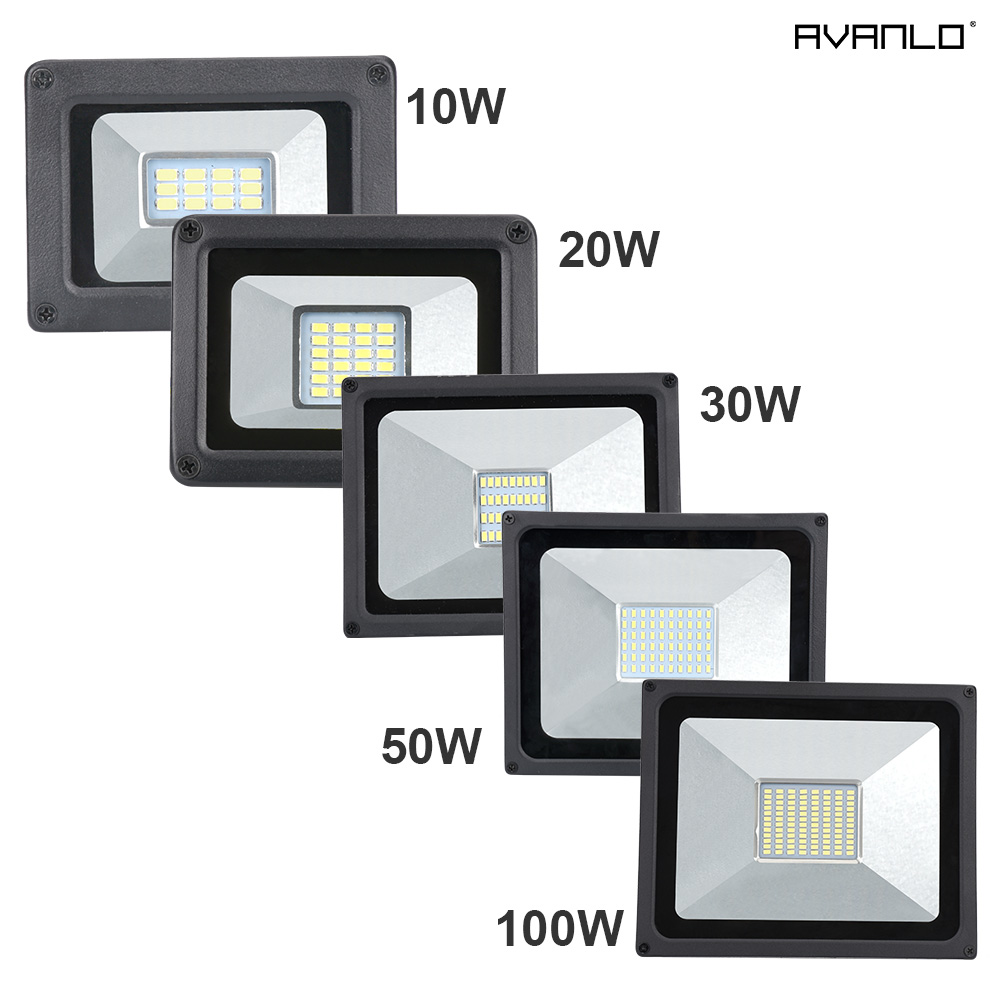 LED Flood Light 10W 20W 30W 50W 100W Floodlight LED Spotlight Outdoor Lighting Projector Reflector Wall Lamp 220V Garden Square