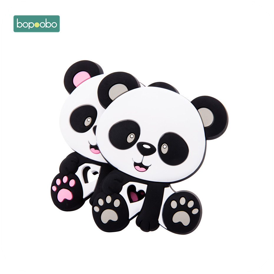 Bopoobo 1pc BPA Free Baby Teether Silicone Panda Food Grade Chewable Nursing Teething Necklace Accessories Baby Products Newborn