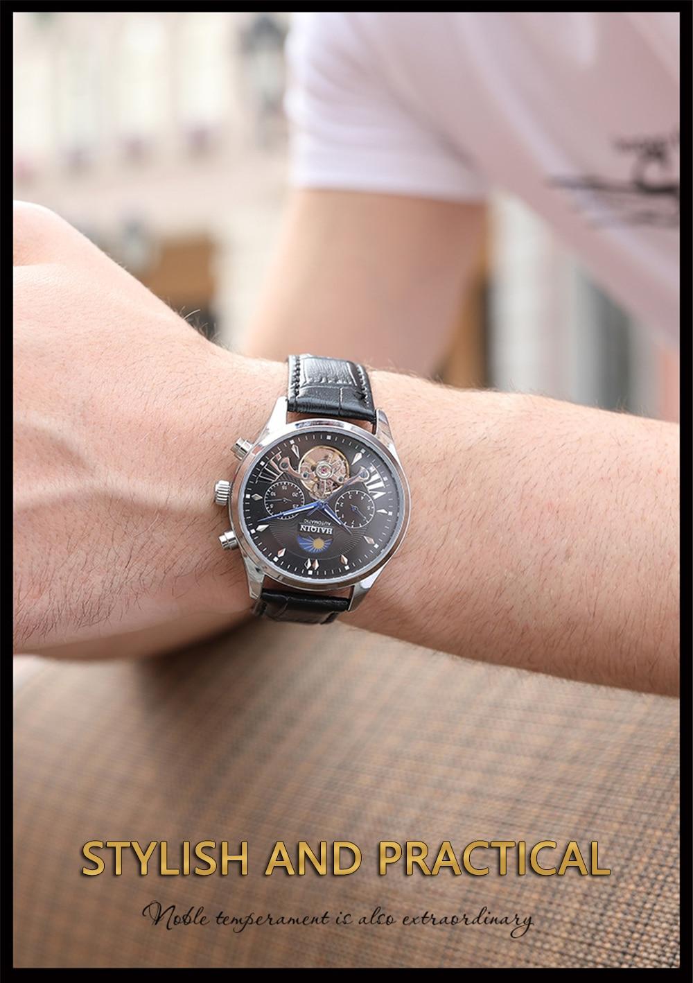 Haiqin masculinomasculino relógios marca superior luxo automáticomecânicorelógio