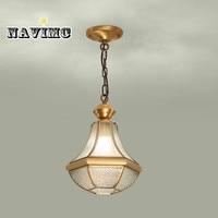 European style copper Led chandelier glass chandelier corridor chandelier lighting