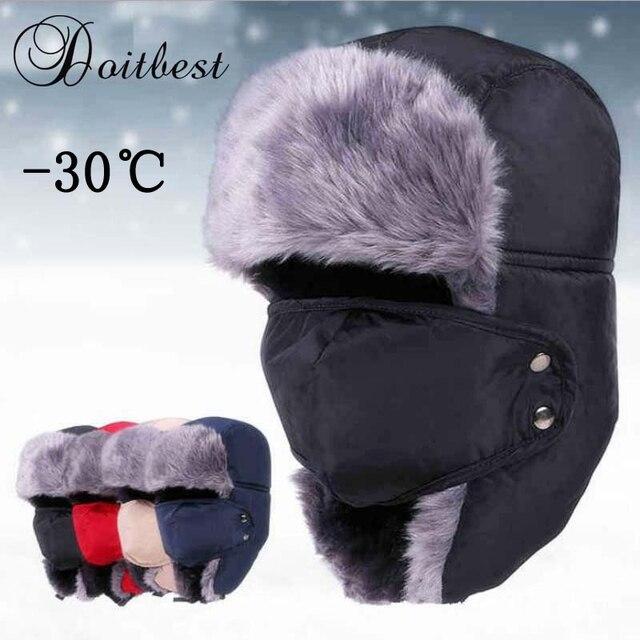 New Men russian Winter fur ushanka hats Windproof Thick warm winter snow women cap Face Mask men's bomber hat Earflap Ski Hats