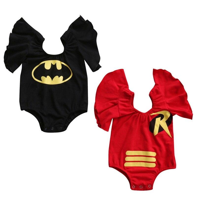 Summer Children Clothing Bodysuit Newborn Infant Baby Girls Batman Cartoon Bodysuit Jumpsuit Outfit Clothes