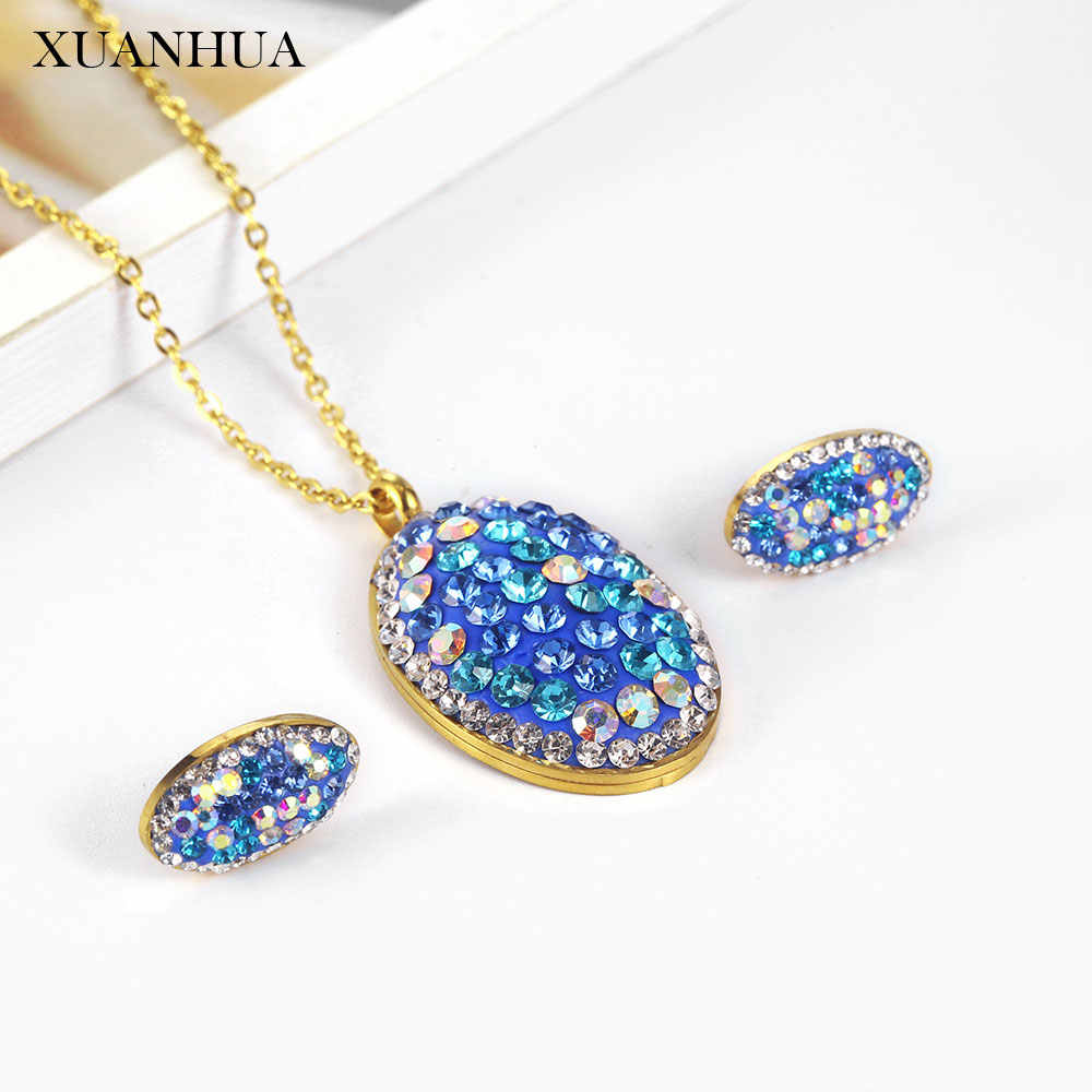 XUANHUA Charm Necklace Earrings Set Stainless Steel Jewelry Sets Woman Vogue 2019 Jewelry Accessories wholesale lots bulk
