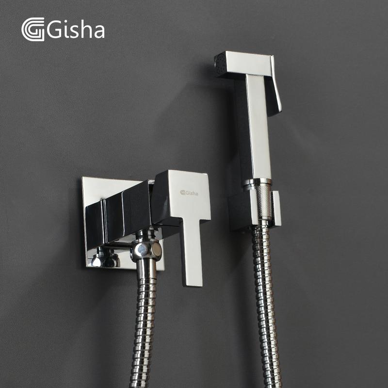 Gisha ビデ蛇口浴室ビデシャワーセットシャワー蛇口トイレ教徒真鍮ウォールマウントホットとコールド Warter タップミキサー  グループ上の 家のリフォーム からの ビデ の中 1