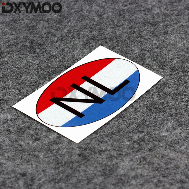 Country code oval car styling decals nl netherlands national flag car window sticker bumpers 12x7cm
