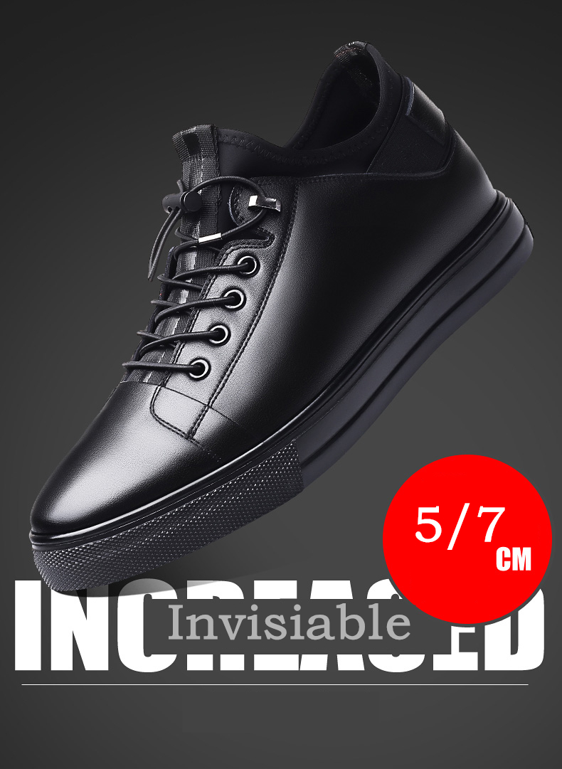 Men's Leather Invisible Height Increased Lace-up Shoes