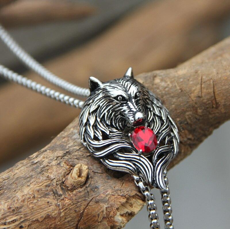 Original Design High Street Bolotie Stainless Steel Wolf Head With Ruby Rhinestone Pendant Neck Tie Novelty Bolo Tie