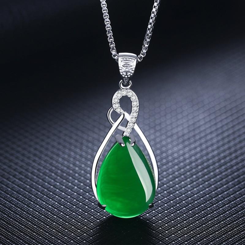 S925 Sterling Silver Women's Necklace Corundum Pendant Jade Turquoise S925 Collarbone Jewelry Jade Gemstone Bizuteria