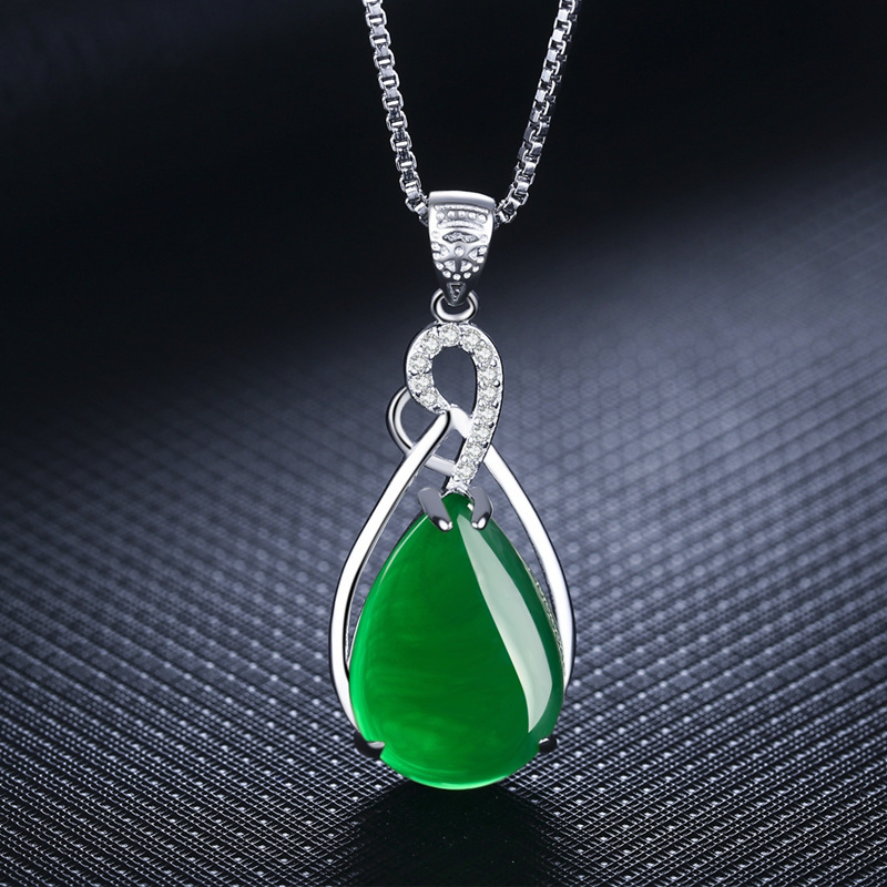S925 Sterling Silver Women's Necklace Corundum Pendant Jade Turquoise S925 Collarbone Jewelry Jade Pendant Gemstone Bizuteria