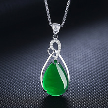 S925 Sterling Silver Womens Necklace Corundum Pendant Jade Turquoise Collarbone Jewelry Gemstone Bizuteria