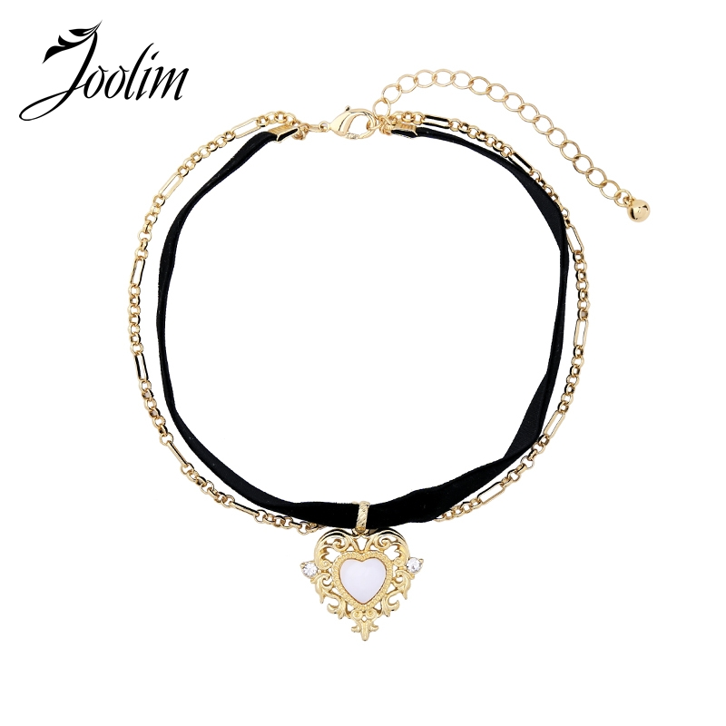 JOOLIM Jewelry Wholesale/Black Velvet Choker Necklace Heart Pendant Layered Winter