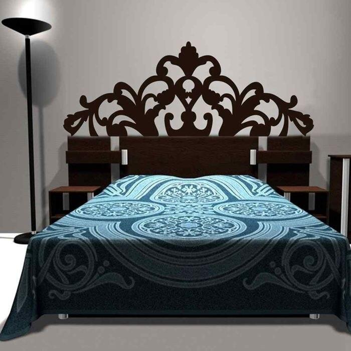 Kurze Barockes Muster Stil Kopfteil Aufkleber Bett Vinyl Wandaufkleber  Schöne Blume Schlafzimmer Wohnheim Wand Dekor