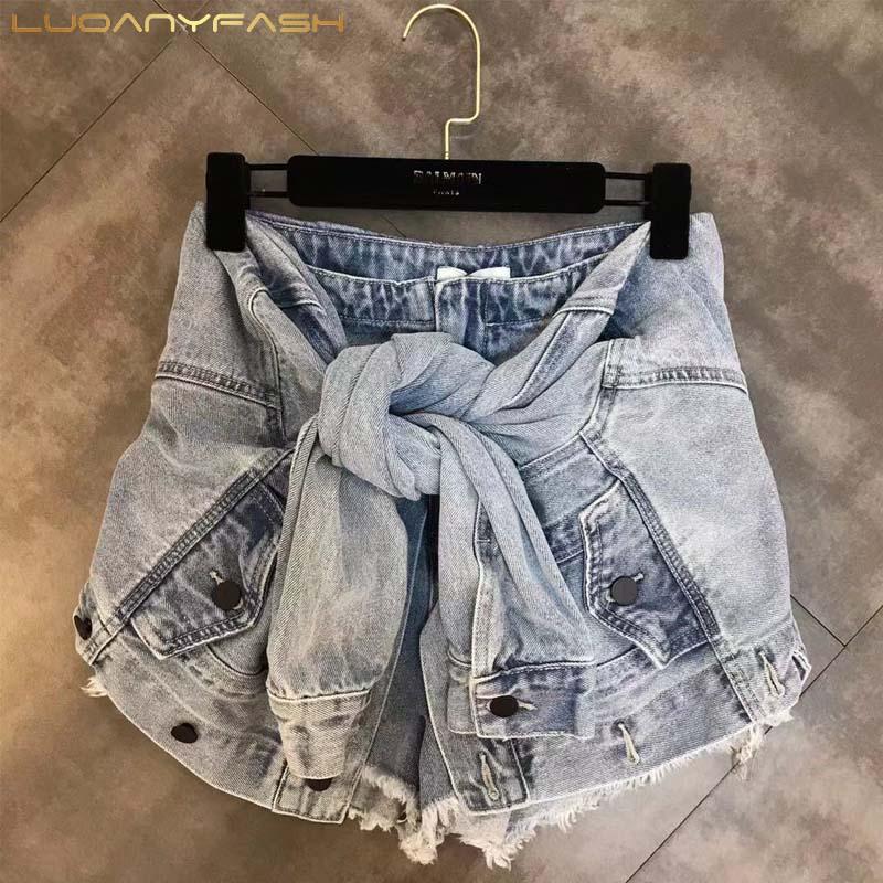 Luoanyfash Lace Up Shorts Hoge Taille Denim Shorts Voor Vrouwen High Street Zomer Designer Kleding 2019 Nieuwe Mode Stijl