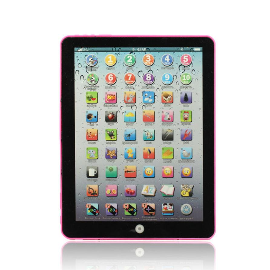 Pink Russian Computer Learning Education Machine Tablet Toy Gift For Kids Learning Toys For Children Dec27