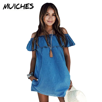 2016 Women dress New Fashion Designer Loose Slash neck Jeans Dresses Summer Casual Sleeveless ladies elegant Denim Dresses