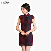 New Black Red Chinese Women Traditional Dress Vintage Cheongsam Mini Sexy Qipao Flower Wedding Dress Size