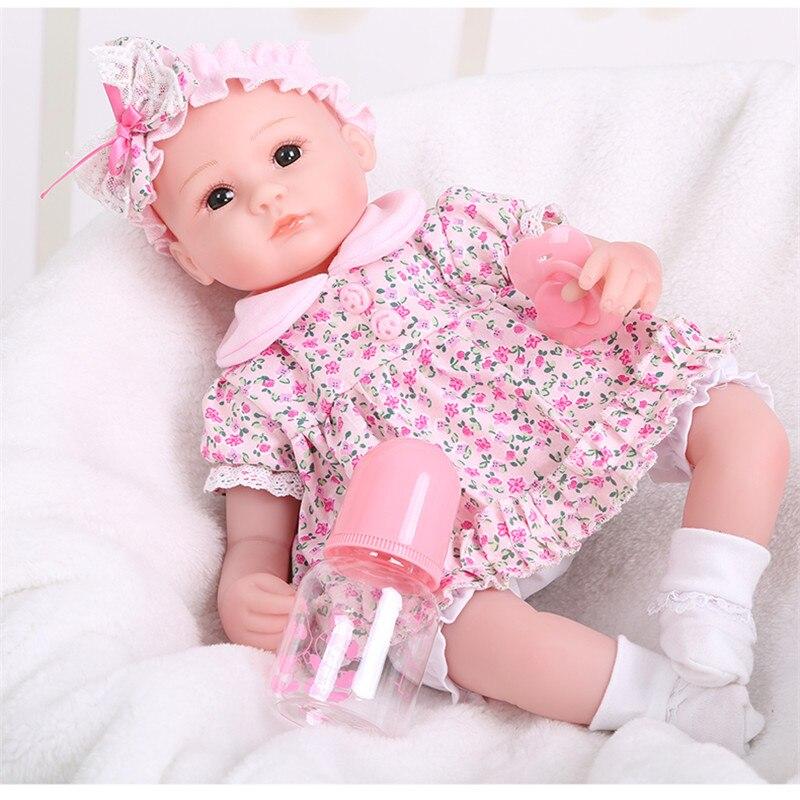16 40cm Handmade Lifelike Floral Dress Baby doll toy Silicone Vinyl Boy Girl Reborn Toddler Newborn Dolls Early Education Toy [sgdoll] 2017 new 22 lifelike reborn pink dress baby girl dolls silicone vinyl handmade w bottle toy doll 16070607