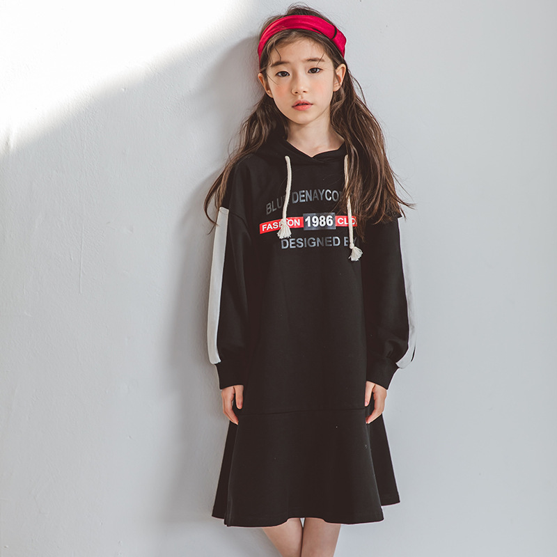 Girls Winter Autumn Casual Dress 2018 New Korean Fashion Childrens Dresses Dog Printed Kids Hodded Clothes For 6 7 8 9 10 YearsGirls Winter Autumn Casual Dress 2018 New Korean Fashion Childrens Dresses Dog Printed Kids Hodded Clothes For 6 7 8 9 10 Years