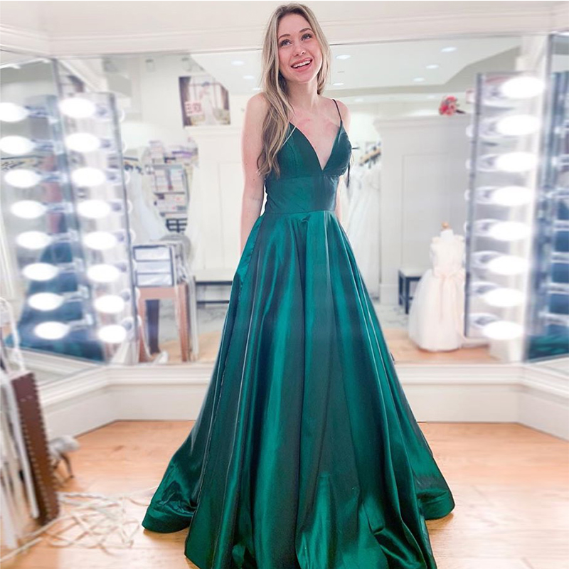 Simple A-line   Prom     Dresses   V-neck Spaghetti Straps Dark Green Formal Evening Party   Dresses   Long Special Occasion   Dresses   Cheap