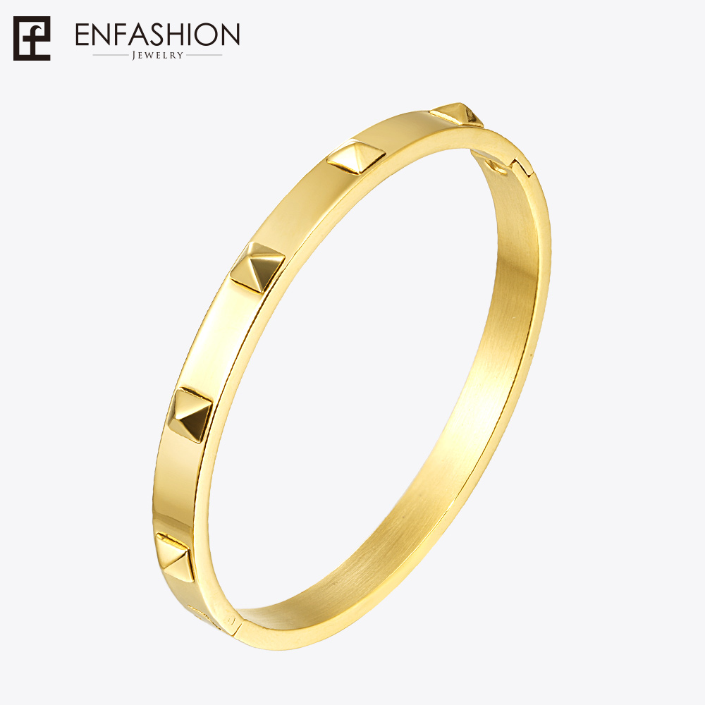 Enfashion Pyramid Spikes Bracelet Manchette Gold Color Stainless Steel Bracelet For Women Cuff Bracelets Bangles Pulseiras delicate solid color multi layered hollow out cuff bracelet for women
