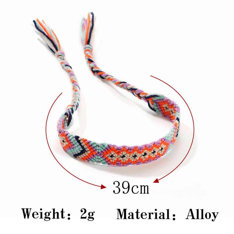 Модные Винтажные тканевые разноцветные Хлопковые женские браслеты для щиколотки мужские богемные Йога босиком ножная цепочка браслеты пляжные украшения