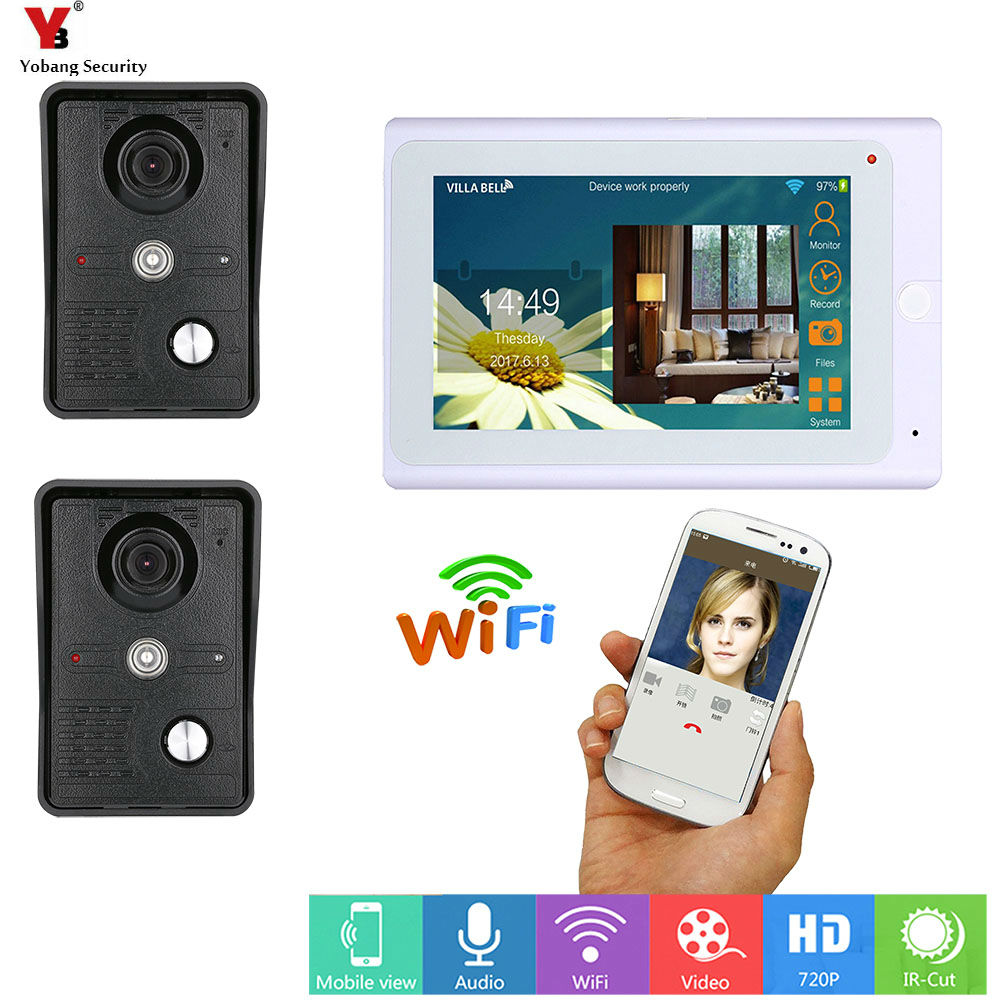 все цены на Yobang Security 7inch Wireless/Wired Wifi IP Video Door Phone Doorbell Intercom Entry System with 2 Wired Camera Night Vision