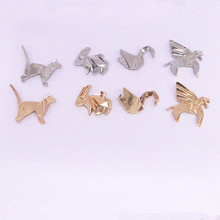 Japanese foreign trade jewelry wholesale lovely solid geometry of animal rabbit/the cat/papercranes brooch brooch