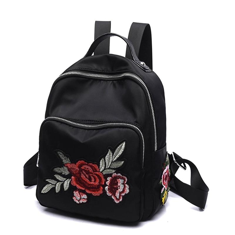 Qualità Spalla Black Di Libellula Ricamo flower A Mano Fatti Scuola Black Delle Dragonfly Adolescenti Da Zaino Per Daypacks Donne 3d Borse Ragazze Fahion Nero Le USFawtqE