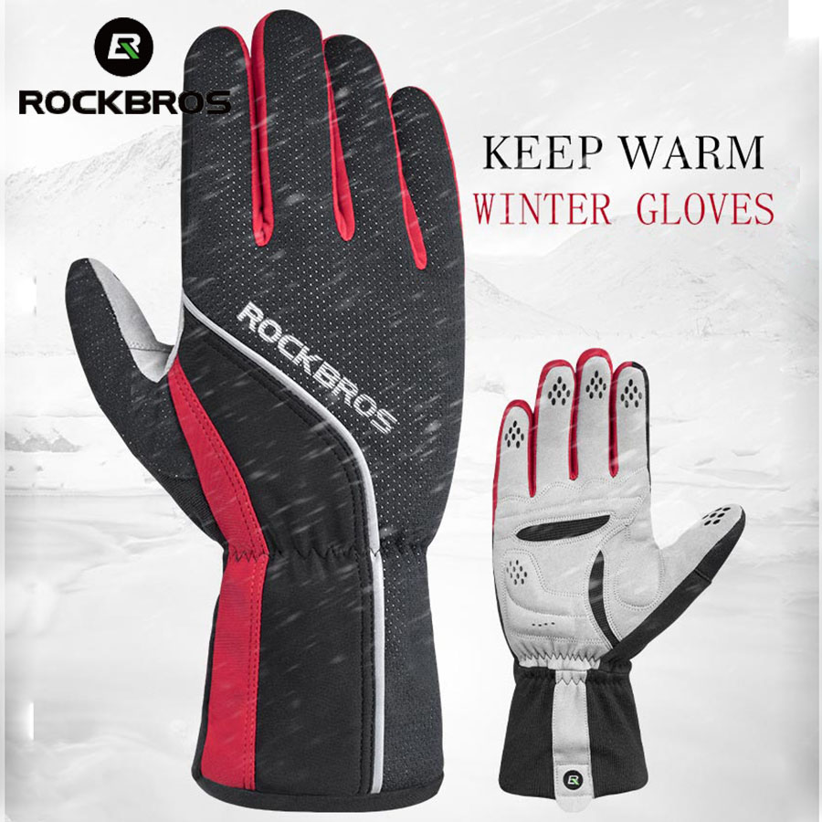 ROCKBROS Bike Gloves Winter Thermal Full Finger Windproof