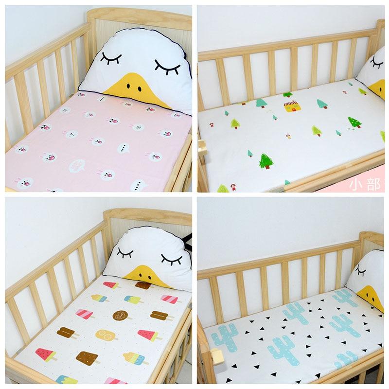 1pcs 150x115cm Flat Sheet Baby Bed Sheets 100% Cotton  Baby Bedding Blanket  Kids Cute Cartoon Baby Sheets